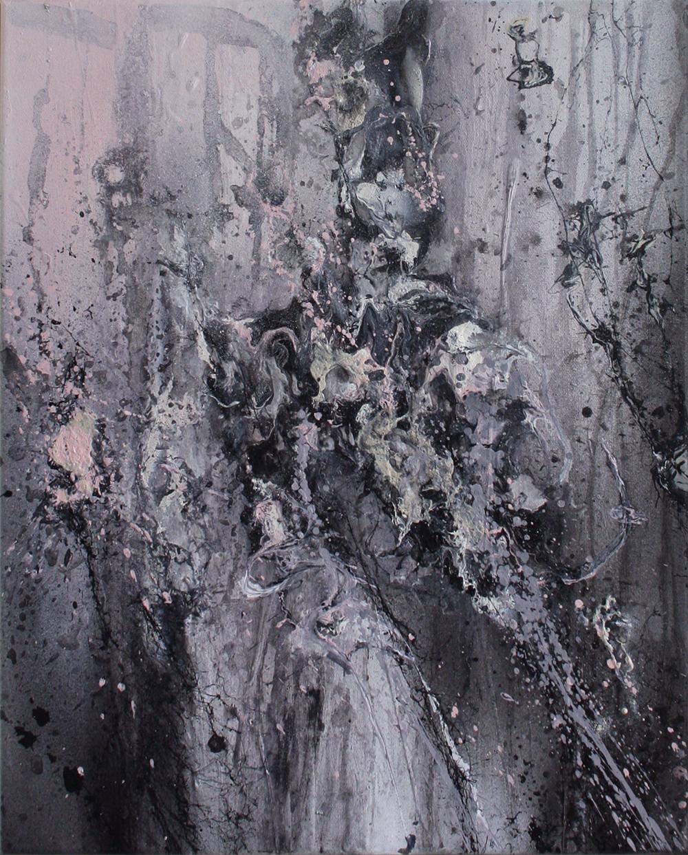 Ohne Titel | Acrylic, aerosol on canvas | 40x50cm | 2014