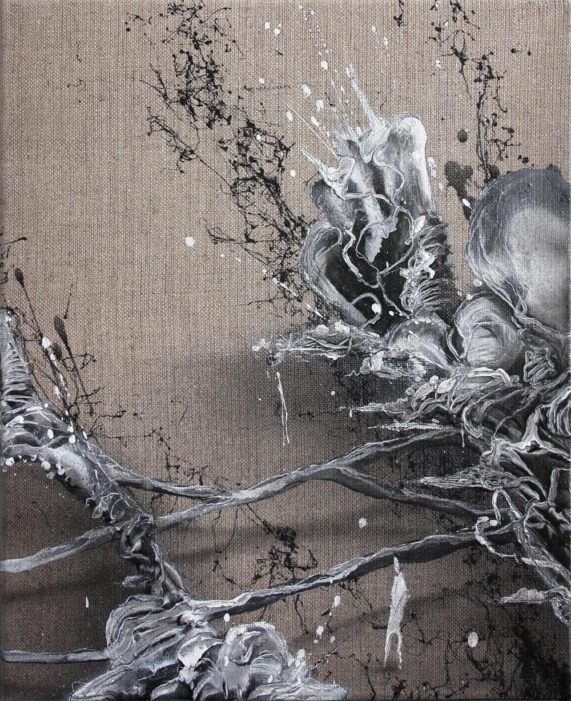 Mini Wohnzimmerwelten III | Acrylic lacquer on linen | 30x24cm | 2014